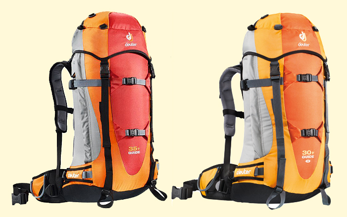 Starší model batohu Deuter Guide. Vlevo je pánský model (35 l) a vpravo  dámská varianta (30 l). 480660e923